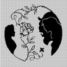 Beauty and the Beast cartoon characters silhouette cross stitch pattern in pdf