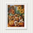 Autumn Puppies- cross stitch pattern in pdf ANCHOR