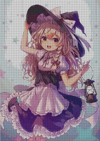 Little witch anime cross stitch pattern in pdf ANCHOR