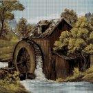 Water mill landscape cross stitch pattern in pdf-Chart Needlework Craft