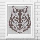 Grey wolf head silhouette cross stitch pattern in pdf -Chart Needlework Craft