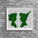 Peter Pan and Wendy silhouette cross stitch pattern in pdf