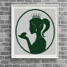 Princess and the Frog silhouette cross stitch pattern in pdf -Chart Needlework