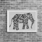 Tribal elephant silhouette cross stitch pattern in pdf