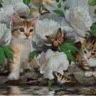 Cats with Butterflies cross stitch pattern in pdf ANCHOR