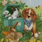 Pets in garden- cross stitch pattern pdf