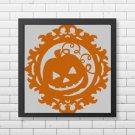 Halloween Pumpkin silhouette cross stitch pattern in pdf