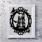Haunted house silhouette cross stitch pattern in pdf