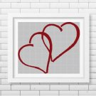 Valentine's Day hearts silhouette cross stitch pattern in pdf