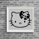 Hello Kitty with skull silhouette cross stitch pattern in pdf