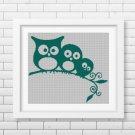 Little owls silhouette cross stitch pattern in pdf