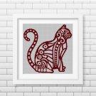 Mechanic cat silhouette cross stitch pattern in pdf