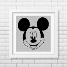 Mickey Mouse face silhouette cross stitch pattern in pdf