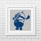 Blue Minion silhouette cross stitch pattern in pdf