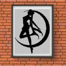 Moon girl silhouette cross stitch pattern in pdf