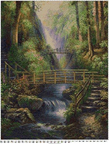 Forest Bridges art cross stitch pattern in pdf ANCHOR