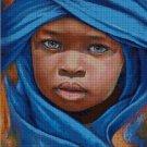 Little African boy art cross stitch pattern in pdf