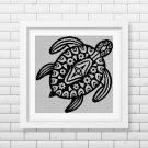 Flower Motif Turtle silhouette cross stitch pattern in pdf