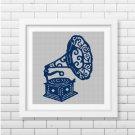 Gramophone silhouette cross stitch pattern in pdf