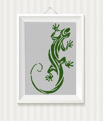 Lizard silhouette cross stitch pattern in pdf 2