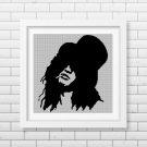Slash face silhouette cross stitch pattern in pdf
