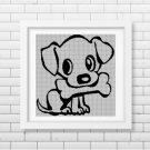 Dog with bone silhouette cross stitch pattern in pdf
