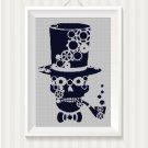 Gears skull silhouette cross stitch pattern in pdf