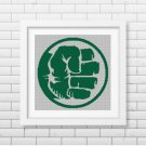 Hulk symbol silhouette cross stitch pattern in pdf
