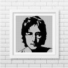 John Lennon face silhouette cross stitch pattern in pdf