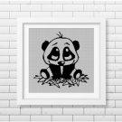 Little Panda silhouette cross stitch pattern in pdf