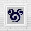 Maui Mickey Mouse head silhouette cross stitch pattern in pdf
