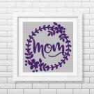 Mom text silhouette cross stitch pattern in pdf