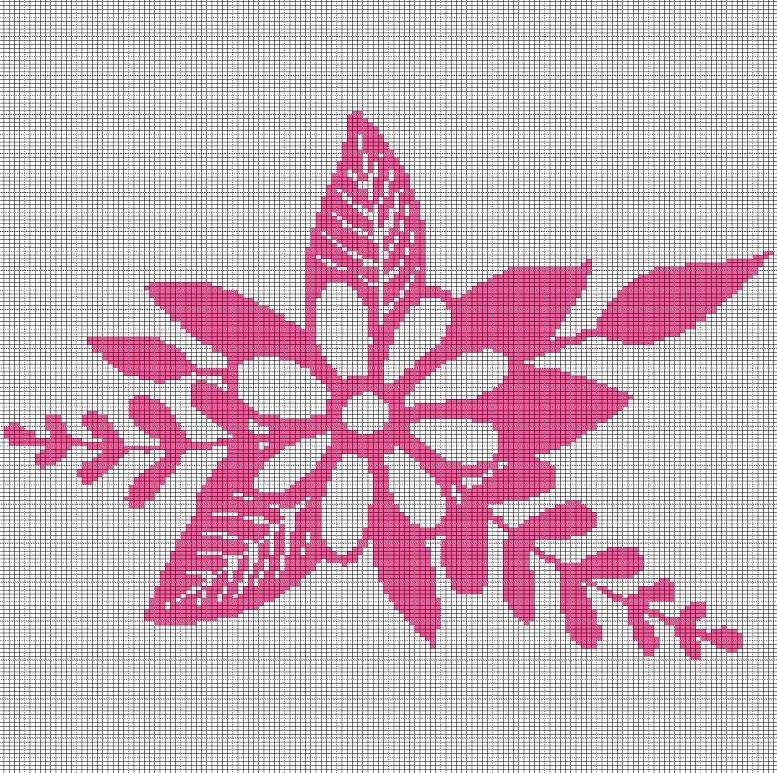 dark pink flower crochet afghan pattern graph