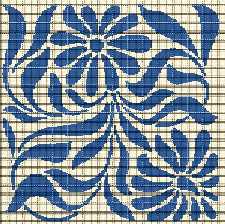 beige and blue flower tapestry style crochet afghan