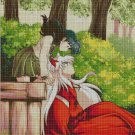 Inuyasha and Kagome in forest cross stitch pattern in pdf