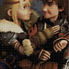 Hiccup and Astrid cartoon cross stitch pattern in pdf
