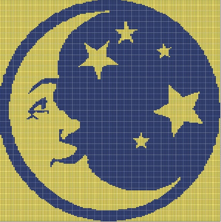 moon and stars crochet afghan pattern graph