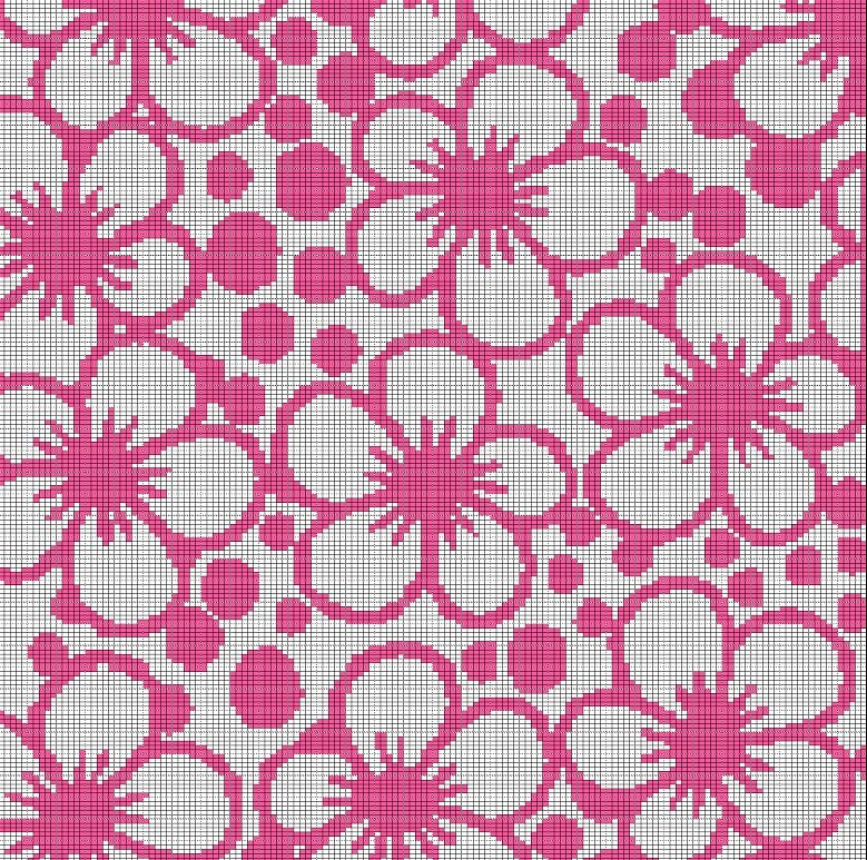 pink flower mosaic tapestry style crochet afghan pattern graph