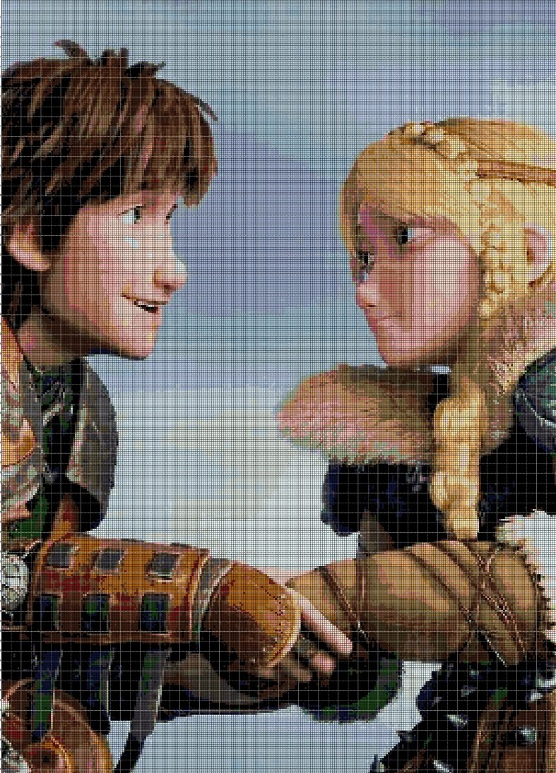 Astrid and Hiccup cross stitch pattern in pdf