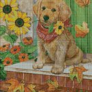 Puppy with flowers cross stitch pattern in pdf