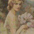 Albert Henry Collings: Portrait of a lady art cross stitch pattern in pdf DMC