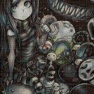 Anime Gothic girl art cross stitch pattern in pdf DMC