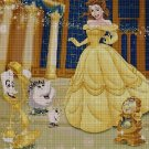 Belle and the enchanted characters cross stitch pattern in pdf DMC