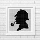 Sherlock Holmes3 silhouette cross stitch pattern in pdf DMC