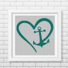 Love Anchor silhouette cross stitch pattern in pdf