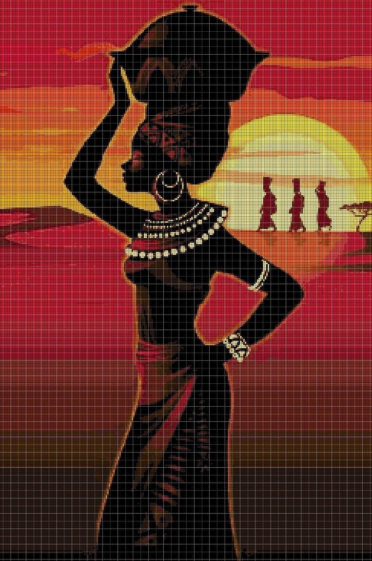 African Women Cross Stitch Pattern Dmc