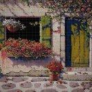 Floral window cross stitch pattern in pdf DMC