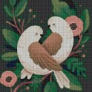 Folk art birds cross stitch pattern in pdf DMC