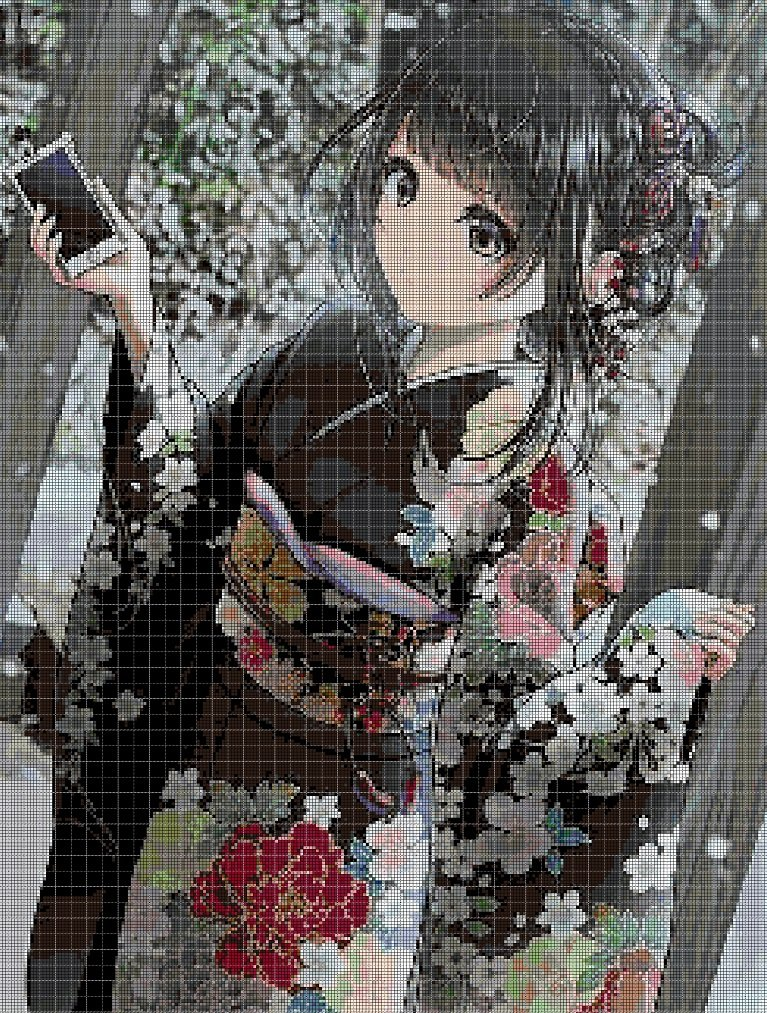 Girl in kimono anime cross stitch pattern in pdf DMC