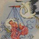 Stork and baby cross stitch pattern in pdf DMC